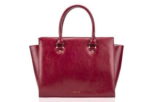 Classic leather handbag Felice Gold Gatto Deep red | Women`s ...