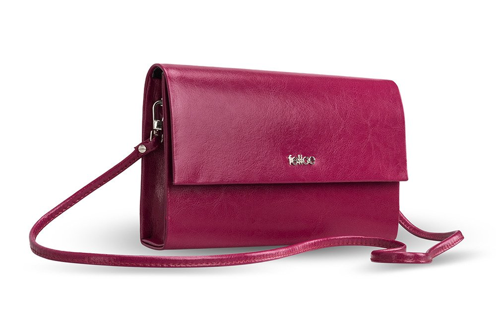Genuine leather clutch bag Felice F13GOLD Dark Pink | Women`s ...