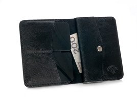 Slim leather men's wallet with coin holder SOLIER SW15 SLIM BLACK