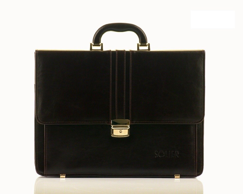 Brown Leather Men S Briefcase Solier Office
