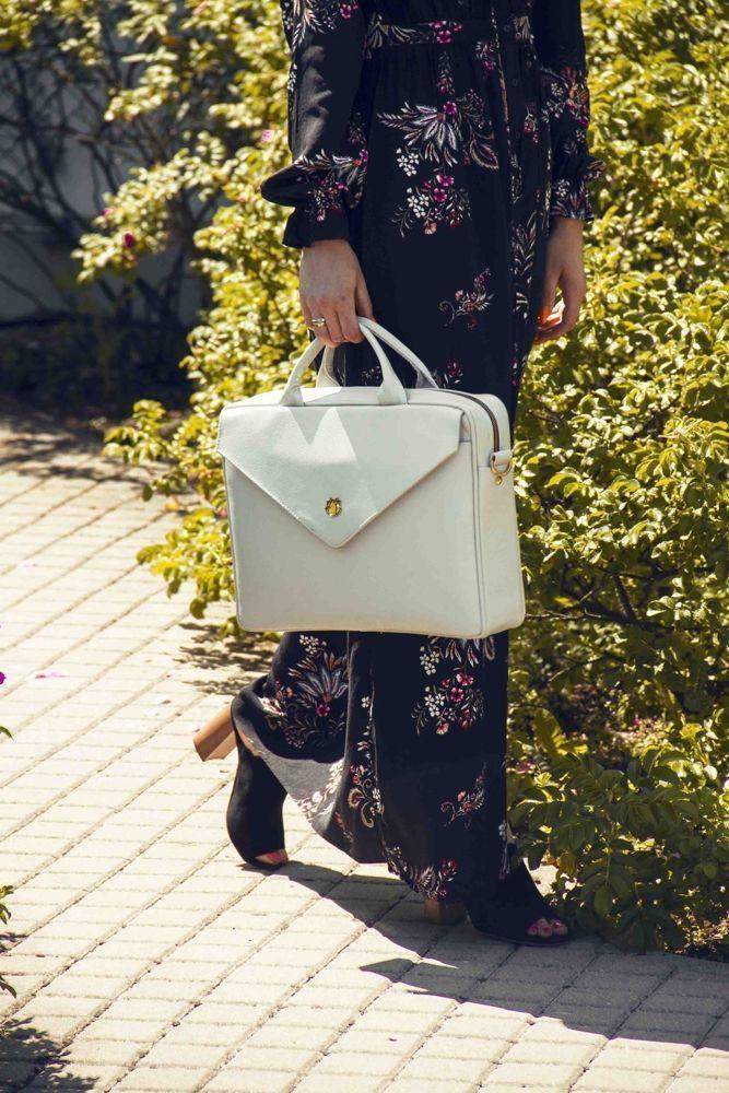 f5ec635c0b55b Genuine leather woman s laptop bag FL15 Positano light grey - online ...