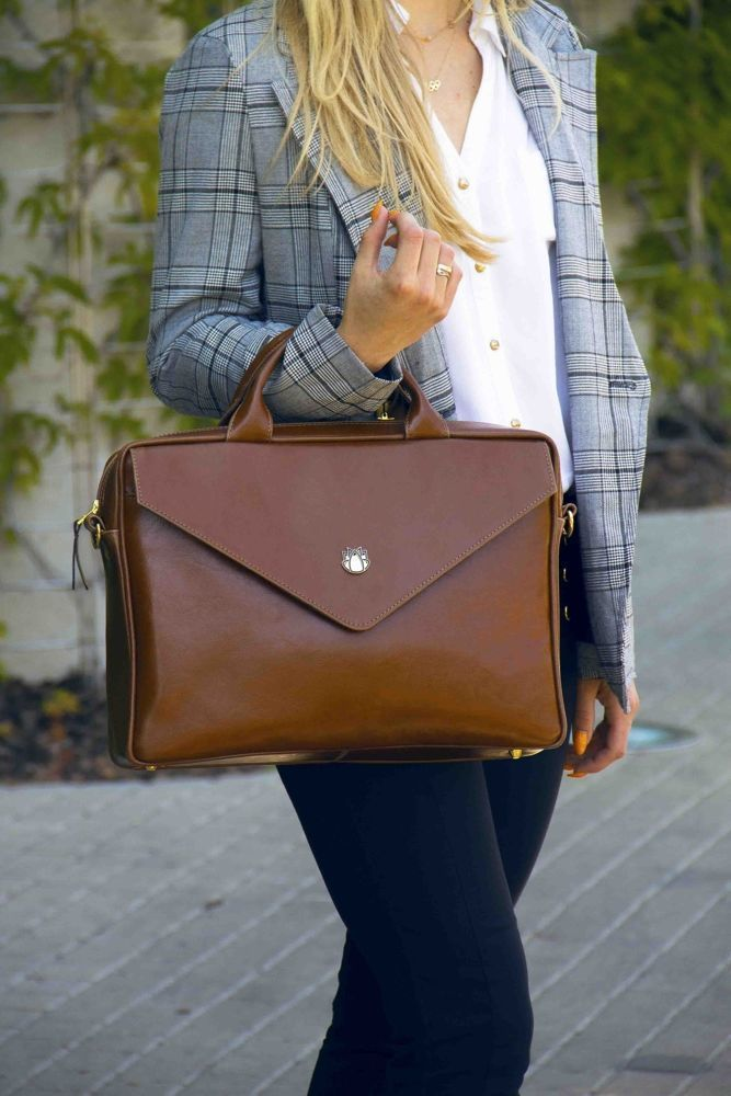 5ae5e48ff01fe Genuine leather woman s laptop bag FL15 Positano vintage brown ...