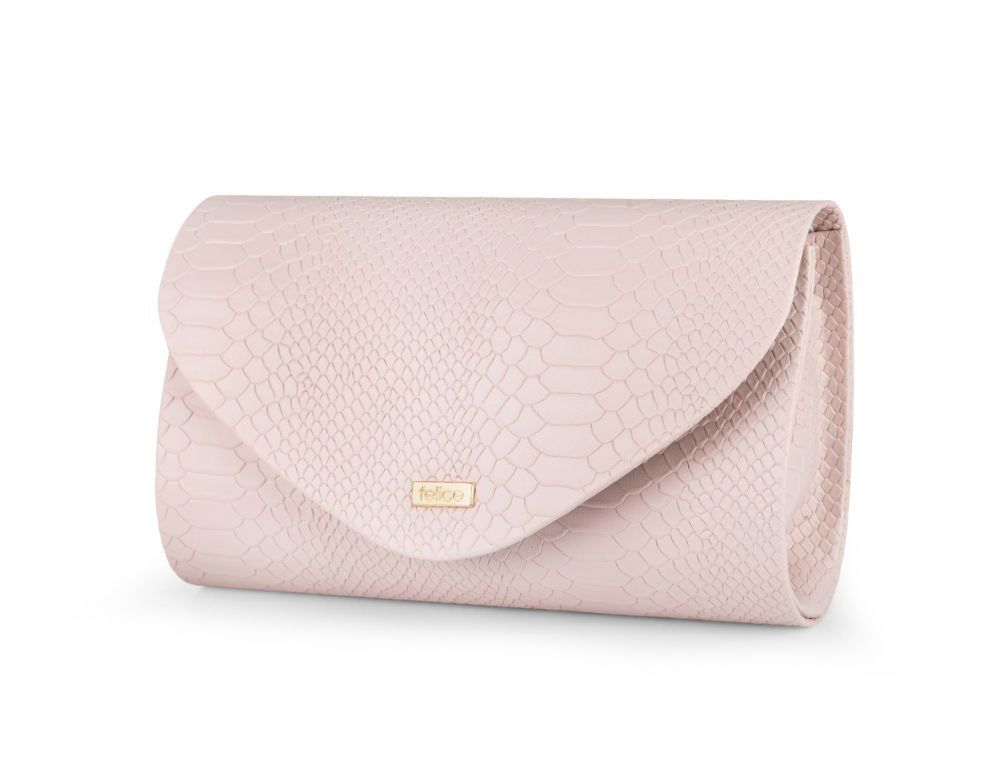 Women's Clutch bag Felice F15G powder pink snake matt - online wholesale  platform Merlitz