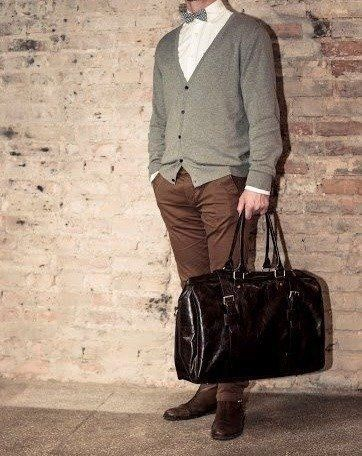 Black leather men`s weekend bag HAMILTON
