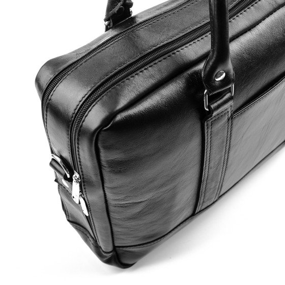 Black leather shoulder laptop bag SL02 ABERDEEN