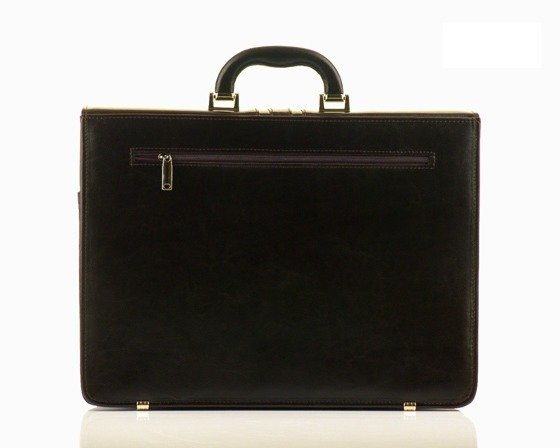 Brown leather men's briefcase Solier Office