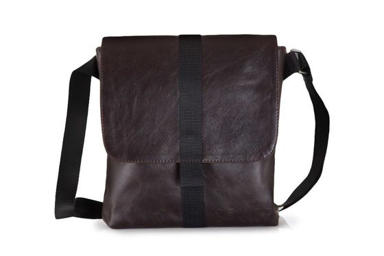 Brown leather messenger Ipad case SL31