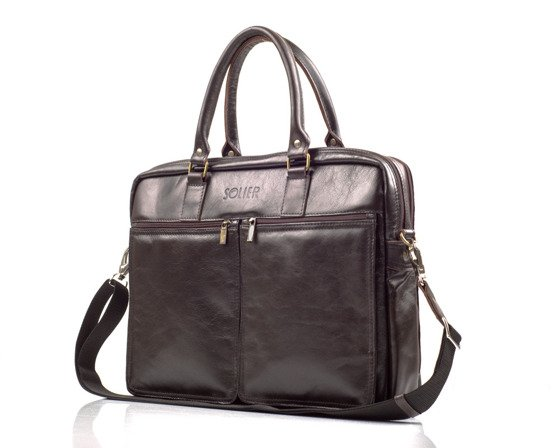 Brown leather shoulder laptop bag SL01 DUNDEE