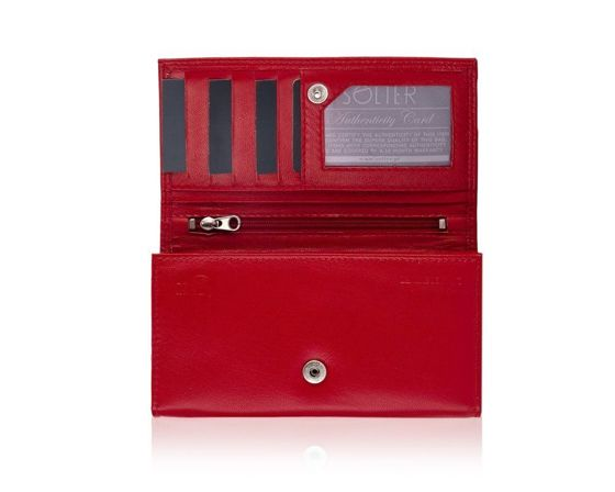 Elegant Women's leather wallet Solier P23 red RFID