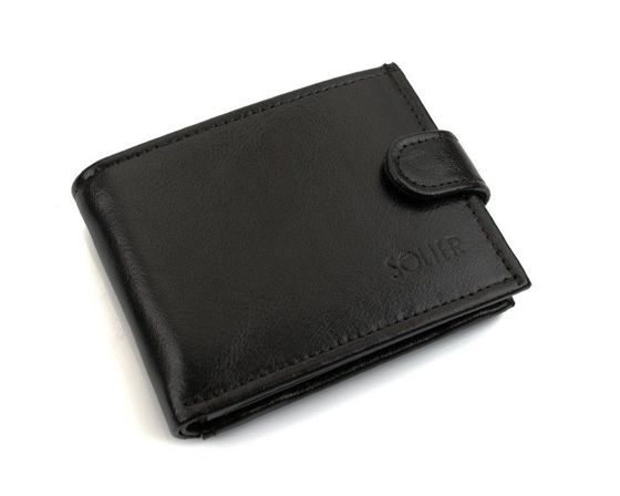 Elegant black leather wallet SOLIER SW03