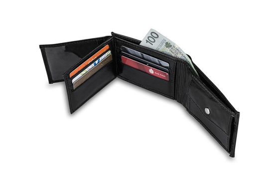 Elegant black leather wallet SOLIER SW06