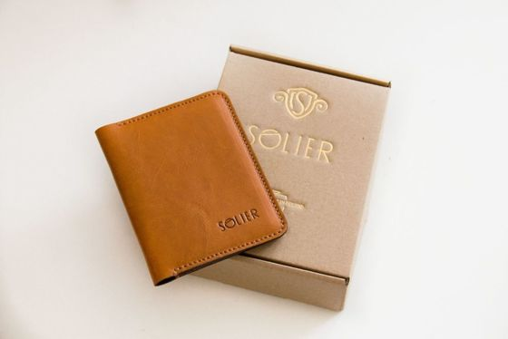 Elegant brown leather wallet SOLIER SW06