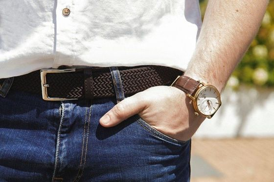 Elegant, woven belt for man SOLIER SB07 brown-beige
