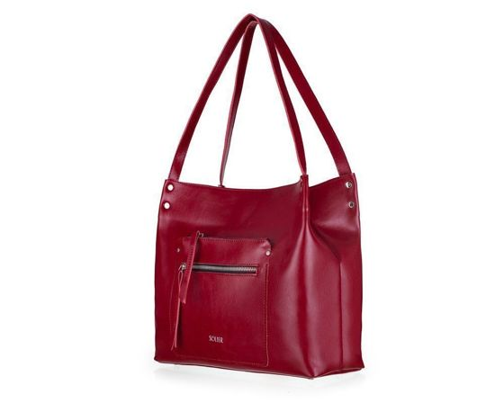 Genuine leather woman's shopper bag Vitoria FL18 burgundy