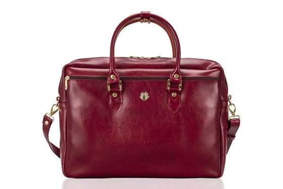 Genuine leather women's laptop bag Marina red