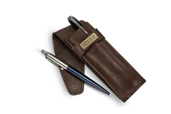 Leather men's pen case SA12 LIGHT BROWN