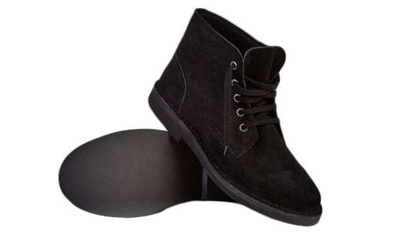 Men's stylish leather Chukka shoes boots black