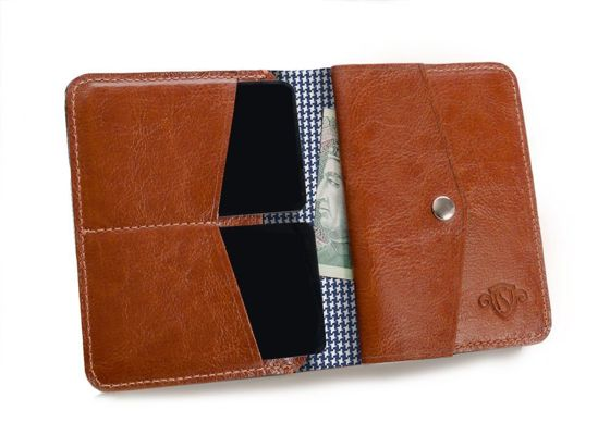 Slim leather men's wallet with coin holder SOLIER SW15A SLIM BROWN