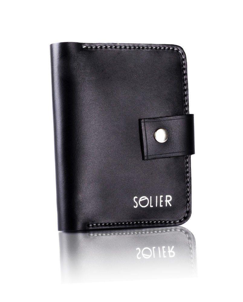 949ecfe56166bd Cienki skórzany męski portfel SOLIER SW17 Czarny Vintage - hurtownia ...