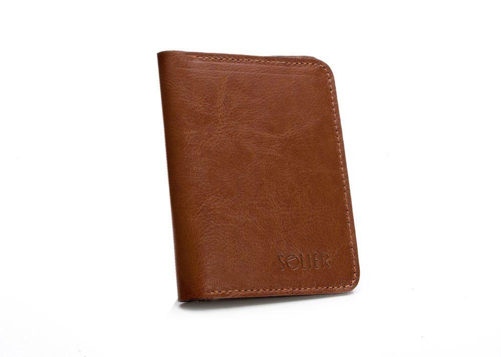 a06baaf7d52ca ... Cienki skórzany męski portfel z bilonówką SOLIER SW15 SLIM BRĄZ ...