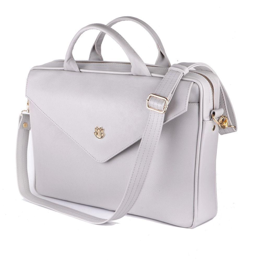 c0bad9ed504c1 Skórzana torba na laptopa FL15 Positano jasny szary - hurtownia ...